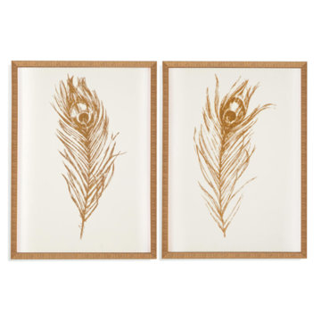 Bassett Mirror Company Gold Foil Feathers Set