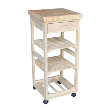 Whitewood Industries Unfinished Kitchen Trolley Cart