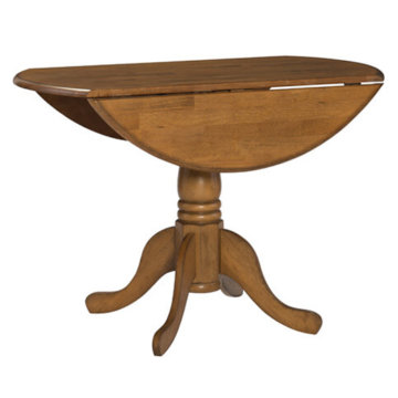 "42"" round dropleaf table pecan"