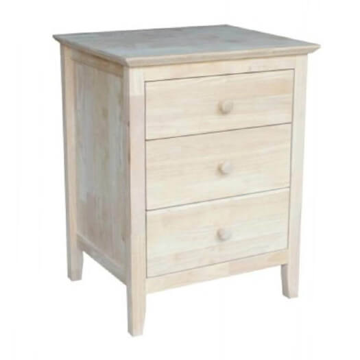 Whitewood Industries Unfinished Brooklyn Three Drawer Nightstand