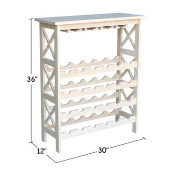 "Whitewood Industries Unfinished 36""H X Side Wine Rack"
